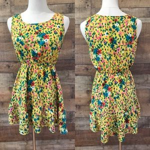 Forever 21 Yellow Floral Summer Dress Sleeveless